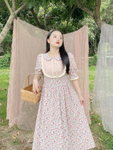Women's large Summer 2021 Doll collar Pink Floral Skirt (in stock), doll collar Pink Floral Skirt (pre-sale) Large XL, large XXL, large XXL Dress singleton  Sweet Short sleeve Broken flowers other puff sleeve 18-24 years old fungus 31% (inclusive) - 50% (inclusive) Medium length other bow