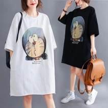 Dress Lucky baby White, black M,L,XL,XXL,XXXL Korean version elbow sleeve Medium length summer Crew neck Cartoon animation polyester