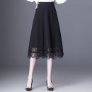 skirt Spring 2021 M,L,XL,2XL,3XL,4XL black Mid length dress commute High waist A-line skirt Solid color Type A UA54498451 Korean version