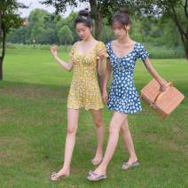 one piece  OM (outdoor sports) M,L,XL Blue, yellow Skirt one piece With chest pad without steel support OM190061 female Short sleeve Casual swimsuit