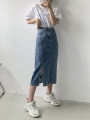 skirt Summer 2021 M,L,XL,2XL,3XL blue Mid length dress commute High waist A-line skirt other Type A 18-24 years old 30% and below other Other / other other Simplicity