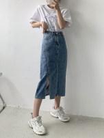 skirt Summer 2021 M,L,XL,2XL,3XL blue Mid length dress commute High waist A-line skirt other Type A 18-24 years old 30% and below other Other / other other Simplicity