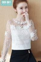Lace / Chiffon Winter of 2018 White, pink, red, off white, bright yellow, medium pink S,M,L,XL,XXL Long sleeves commute Socket singleton  Self cultivation Regular Crew neck Solid color routine 25-29 years old ANBL500067 Hollowed out, pleated, pleated, lace Korean version