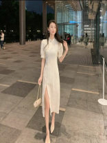 Dress Summer 2021 Apricot (short), apricot (long) S,M,L,XL longuette singleton  Short sleeve commute Crew neck middle-waisted lattice Socket other pagoda sleeve Others 18-24 years old Type A 30% and below Lace other