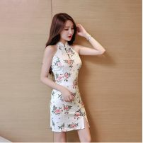 Dress Summer 2020 Picture color S,M,L,XL Short skirt singleton  Sleeveless commute stand collar High waist Decor Pencil skirt Hanging neck style 18-24 years old Type H Other / other Retro backless JZ70305 51% (inclusive) - 70% (inclusive) polyester fiber