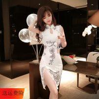 Dress Summer 2020 white S,M,L Mid length dress singleton  Sleeveless commute Retro JZ011207