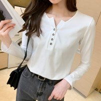 T-shirt 3397 white, 3397 black, 3398 white, 3398 black M,L,XL,XXL Spring 2021 Long sleeves V-neck Self cultivation Regular routine commute cotton 86% (inclusive) -95% (inclusive) 18-24 years old Korean version youth Solid color Kazhili KZ-ZJ-9505-3397 Button, button