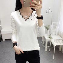 T-shirt 313 white 313 black 313 red 313 Khaki 326 white 326 red 326 yellow 329 white 329 black 329 Khaki M L XL XXL Spring 2021 Long sleeves V-neck Self cultivation Regular routine commute cotton 86% (inclusive) -95% (inclusive) 18-24 years old Korean version youth Geometric letter solid Kazhili