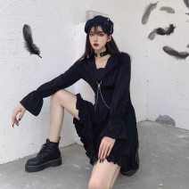 Dress Spring 2021 Black, white, black 2, black short sleeve, black short sleeve, white short sleeve S,M,L,XL,2XL,3XL,4XL Middle-skirt singleton  Long sleeves commute other High waist Solid color Socket A-line skirt routine Others Type H Korean version Chain, splicing 51% (inclusive) - 70% (inclusive)
