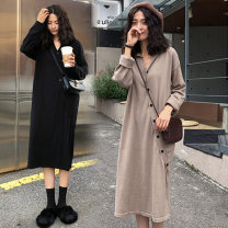 Women's large Autumn of 2019, winter of 2019 Khaki, black Large XL, large XXL, large XXL, large XXXXL, large L Dress singleton  other easy moderate Socket Long sleeves Solid color Polo collar Medium length cotton Three dimensional cutting routine Other / other Button 81% (inclusive) - 90% (inclusive)