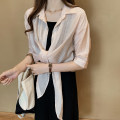 Women's large Summer 2020 Pink, white, apricot, pink premium, apricot premium Large XL, large XXL, large XXL, large XXXXL, large L, M shirt singleton  commute easy moderate Cardigan elbow sleeve Solid color Korean version Polo collar routine polyester Three dimensional cutting routine Other / other