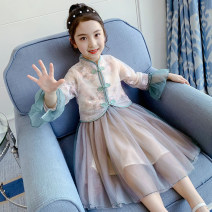 Dress green female Other / other 110cm,120cm,130cm,140cm,150cm,160cm Other 100% summer ethnic style Long sleeves Broken flowers other A-line skirt Class A 10, 11, 12, 13, 14, 5, 6, 7, 8, 9