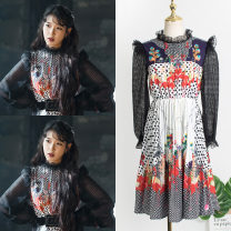 Dress Autumn of 2019 black S,XL,L,M Mid length dress singleton  Long sleeves commute stand collar High waist Decor Socket A-line skirt bishop sleeve Others 25-29 years old Stitching, asymmetry, printing, Auricularia auricula Lace polyester fiber