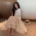 Dress Spring 2021 white S,M,L,XL Mid length dress singleton  Sleeveless commute Crew neck High waist Solid color zipper A-line skirt other Type A Korean version Ruffles, hollowed out, stitching, zippers, lace Lace other