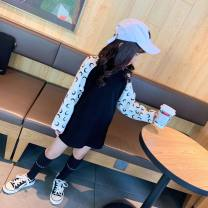 Dress Black white sleeves, black green sleeves female Other / other 90cm,100cm,110cm,120cm,130cm,140cm,150cm Cotton 100% spring and autumn Korean version Long sleeves Solid color cotton other Class B Four, five, six, seven, eight, nine, ten, eleven, twelve, thirteen