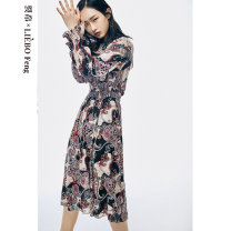 Dress Summer 2020 Decor S M L Mid length dress singleton  Long sleeves Crew neck Elastic waist Decor Socket Others 25-29 years old Type X cut silk into pieces for writing letters Splicing 73201TM24001 More than 95% Chiffon polyester fiber Polyester 100%