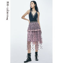 skirt Summer 2020 S M L Pink color Mid length dress grace Natural waist A-line skirt Broken flowers Type A 25-29 years old More than 95% Lace cut silk into pieces for writing letters polyester fiber Polyester 100%