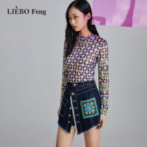 Casual pants blue 26 27 28 29 Spring 2021 shorts Straight pants Natural waist routine hl200097 cut silk into pieces for writing letters Cotton 76% polyester 19% regenerated cellulose 5% Same model in shopping mall (sold online and offline)