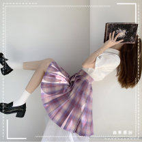 skirt Winter 2020 XS,S,M,L,XL Dream girl 45 cm bow tie Short skirt Sweet Natural waist Pleated skirt lattice Type A 91% (inclusive) - 95% (inclusive) polyester fiber fold college