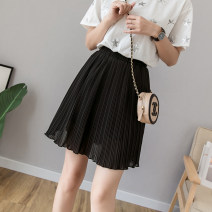 skirt Summer 2020 S,M,L,XL,2XL,3XL,4XL,5XL black Short skirt commute High waist Pleated skirt Solid color Type A 81% (inclusive) - 90% (inclusive) other other Pleating, three-dimensional decoration Korean version