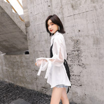 shirt High quality white, it is recommended not to soak S,M,L,XL Autumn 2020 other 81% (inclusive) - 90% (inclusive) Long sleeves commute Medium length Polo collar Single row multi button other Solid color Self cultivation Other / other Korean version