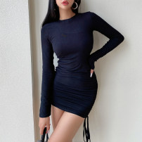 Dress Spring 2021 Black, khaki, blue, bean green, brown red S, M Short skirt singleton  Long sleeves street Crew neck Solid color Socket One pace skirt routine Others Fold, Drawstring nine point one six More than 95% cotton Europe and America
