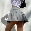 skirt Summer 2021 XS,S,M Gray, white, black Short skirt street High waist Pleated skirt Solid color Type A three point two four 51% (inclusive) - 70% (inclusive) cotton Fold, three dimensional cutting Europe and America