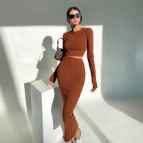Dress Spring 2021 Black, light grey, dark grey, khaki, brown S, M longuette Two piece set Long sleeves street Crew neck middle-waisted Solid color One pace skirt routine 18-24 years old Type X One point six 81% (inclusive) - 90% (inclusive) polyester fiber Europe and America