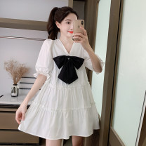 Dress Summer 2021 White, blue, yellow S,M,L,XL Short skirt singleton  Short sleeve commute V-neck middle-waisted Solid color Big swing puff sleeve 18-24 years old Type A Korean version Bow, Ruffle 31% (inclusive) - 50% (inclusive) other