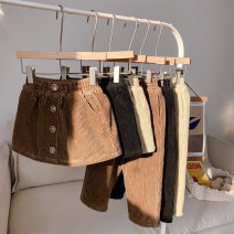 skirt 80cm,90cm,100cm,110cm,120cm,130cm,140cm Black, brown, brown pants, black pants, beige Other / other female Cotton 90% other 10% No season skirt Korean version Solid color other corduroy Class B