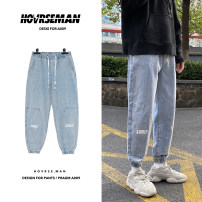 Jeans Youth fashion Others Black, light blue routine No bullet trousers Other leisure autumn Large size middle-waisted 2020 Water wash, stone wash / stone mill cotton