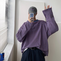 Sweater Youth fashion Others Purple, yellow, black stripe Socket routine Crew neck autumn easy leisure time teenagers like a breath of fresh air routine Fleece  cotton printing No iron treatment Less than 30% Save pocket