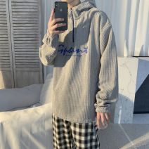 Sweater Youth fashion Others Beige, black S. M, l, XL, 2XL, 3XL, XS plus small Solid color Socket routine Hood spring easy leisure time teenagers tide routine cotton printing No iron treatment zipper