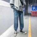 Jeans Youth fashion Others S. M, l, XL, 2XL, 3XL, 4XL, 5XL, XS plus small blue routine No bullet Regular denim Ninth pants Other leisure spring Large size middle-waisted Loose straight tube tide 2020 zipper washing Wash with water, no iron treatment cotton