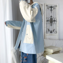 Jacket Other / other Youth fashion Off white, blue S. M, l, XL, 2XL, 3XL, 4XL, 5XL, XS plus small routine easy Other leisure spring Long sleeves Wear out Lapel Basic public youth routine Single breasted 2021 Straight hem Closing sleeve Solid color polyester fiber other Side seam pocket