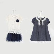 Dress White Navy Other / other female 110cm 120cm 130cm 140cm Cotton 100% summer