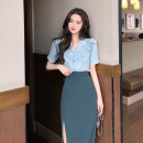 skirt Autumn 2020 S,M,L Lake blue Mid length dress commute High waist A-line skirt Solid color Type A lady