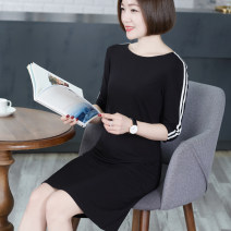 Dress Spring 2021 Black, dark grey M,L,XL,2XL,3XL,4XL Mid length dress singleton  three quarter sleeve commute Crew neck middle-waisted Solid color Socket One pace skirt routine Others 30-34 years old Type A Crosswalk Korean version Splicing T1107 91% (inclusive) - 95% (inclusive) other other