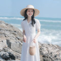 Dress Summer 2021 white XS,S,M,L Mid length dress singleton  Short sleeve commute V-neck High waist Solid color Socket A-line skirt puff sleeve 18-24 years old Type A Allyn tune / Arlene's literature Lace More than 95% other other