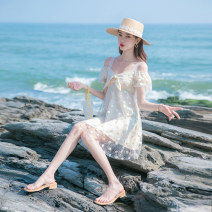 Dress Summer 2021 Apricot XS,S,M,L Short skirt singleton  Short sleeve commute V-neck High waist Solid color zipper A-line skirt routine camisole 18-24 years old Type A Allyn tune / Arlene's lady Lace, mesh, zipper, lace HZ2020031115 More than 95% other other