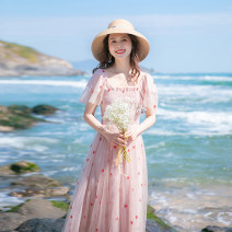 Dress Summer 2021 Pink XS,S,M,L longuette singleton  Short sleeve commute square neck High waist other zipper Big swing pagoda sleeve Others 18-24 years old Type A Allyn tune / Arlene's Retro Auricularia auricula, Gouhua hollow, gauze net, zipper More than 95% other other