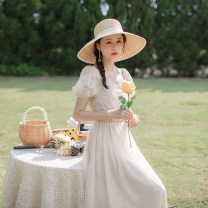 Dress Summer 2021 Apricot XS,S,M,L longuette singleton  Short sleeve commute square neck High waist Solid color zipper Big swing puff sleeve Others 18-24 years old Type A Allyn tune / Arlene's Retro Gouhua, hollow out, stitching, zipper More than 95% other other