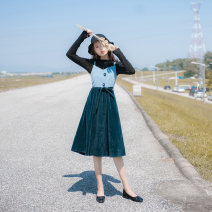 Dress Spring 2021 royal blue XS,S,M,L Mid length dress Two piece set Long sleeves commute Crew neck High waist Solid color zipper Big swing routine camisole 25-29 years old Type A Allyn tune / Arlene's Retro zipper QY2019082412 More than 95% other other