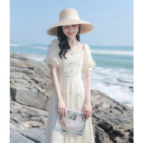 Dress Summer 2021 Apricot XS,S,M,L Mid length dress singleton  Short sleeve commute square neck High waist Solid color Socket A-line skirt puff sleeve Others 18-24 years old Type A Allyn tune / Arlene's literature zipper More than 95% Chiffon other