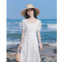 Dress Summer 2021 white XS,S,M,L longuette singleton  Short sleeve commute square neck High waist Solid color Socket A-line skirt routine Others 18-24 years old Type A Allyn tune / Arlene's Retro Splicing More than 95% other polyester fiber