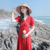 Dress Summer 2021 gules XS,S,M,L Mid length dress singleton  Short sleeve commute V-neck High waist Solid color zipper A-line skirt bishop sleeve Others 18-24 years old Type A Allyn tune / Arlene's Retro Splicing More than 95% other other