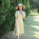 Dress Summer 2021 yellow XS,S,M,L longuette singleton  Short sleeve commute V-neck High waist Solid color zipper Big swing puff sleeve Others 18-24 years old Type A Allyn tune / Arlene's Retro Ruffles, zippers, lace More than 95% other other