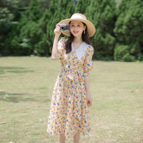 Dress Summer 2021 yellow XS,S,M,L longuette singleton  Short sleeve commute V-neck High waist Broken flowers Socket Big swing routine Others 18-24 years old Type A Allyn tune / Arlene's Retro Lace up, zipper More than 95% other other