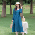 Dress Spring 2021 navy blue XS,S,M,L longuette singleton  Long sleeves commute V-neck High waist Solid color Socket Big swing routine Others 25-29 years old Type A Allyn tune / Arlene's Retro zipper More than 95% other cotton