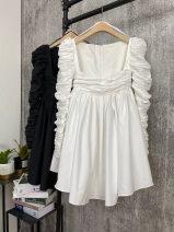 Dress Winter 2020 White, black S,M,L Short skirt singleton  Long sleeves commute One word collar High waist Solid color Socket A-line skirt 18-24 years old Type A polyester fiber